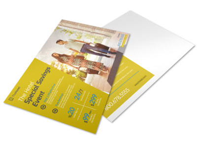 Hotel Savings Event Postcard Template