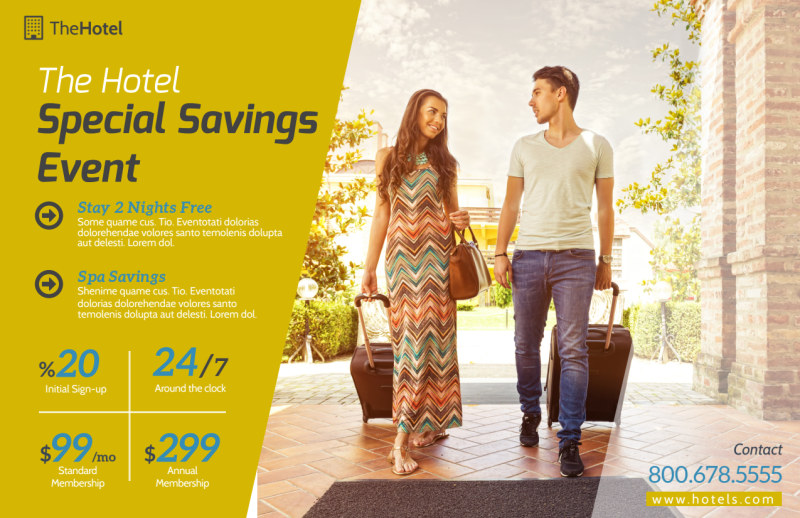 Hotel Savings Event Postcard Template Preview 2