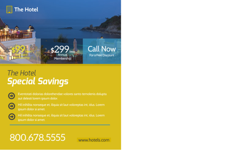 Hotel Savings Event Postcard Template Preview 3