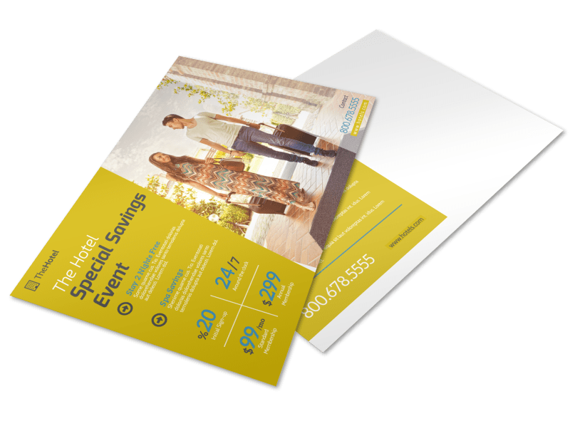 Hotel Savings Event Postcard Template Preview 1