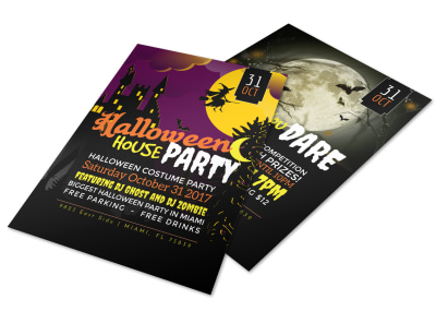 Halloween House Party Flyer Template preview