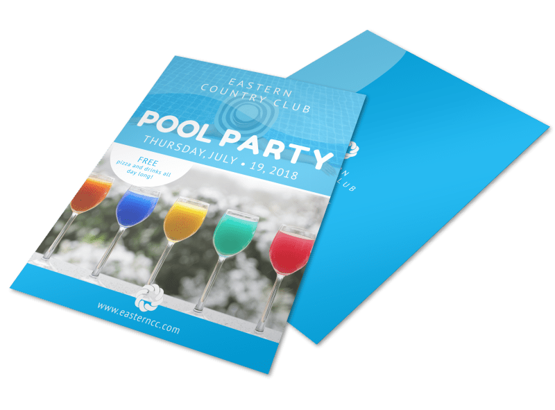 Country Club Pool Party Flyer Template Preview 1