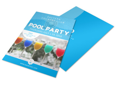 Country Club Pool Party Flyer Template preview
