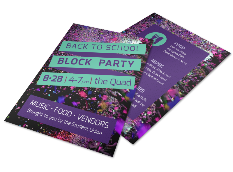 Back To School Party Flyer Template Preview 1