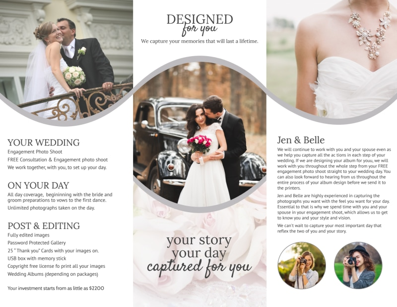 Bell Wedding Photography Tri-Fold Brochure Template Preview 3