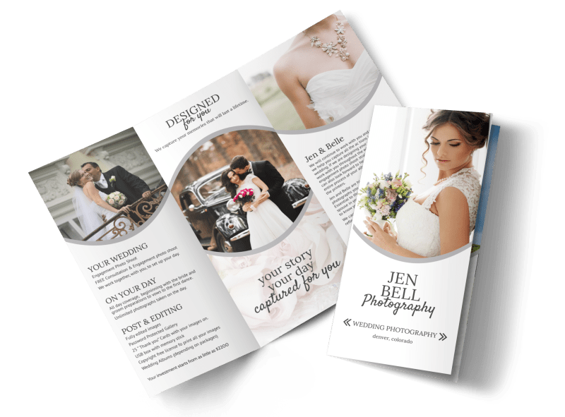 Bell Wedding Photography Tri-Fold Brochure Template Preview 1
