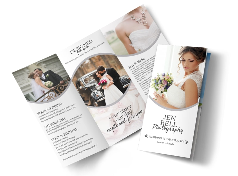 Bell wedding photography tri fold brochure template for Photography brochure templates free