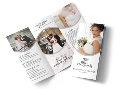 Bell Wedding Photography Tri-Fold Brochure Template preview