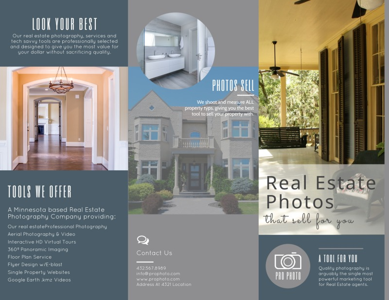 Real Estate Photography Tri-Fold Brochure Template Preview 2