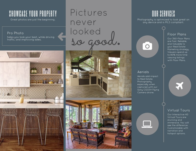 Real Estate Photography Tri-Fold Brochure Template Preview 3