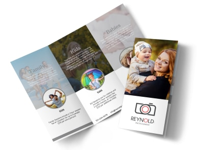 Reynolds Family Photography Tri-Fold Brochure Template preview