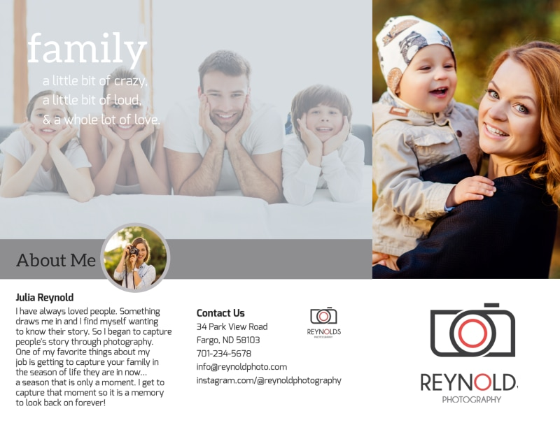 Reynolds Family Photography Tri-Fold Brochure Template Preview 2