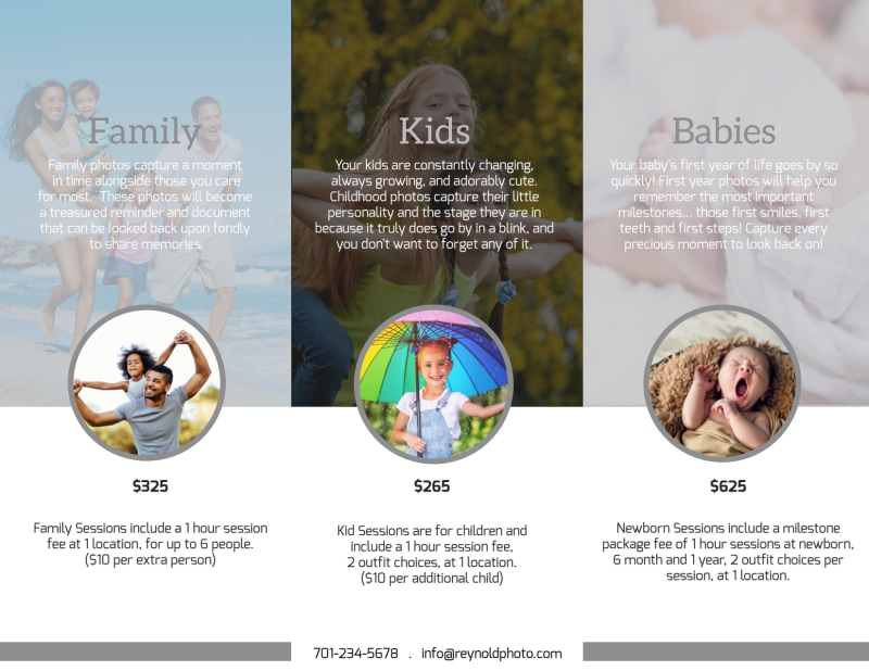 Reynolds Family Photography Tri-Fold Brochure Template Preview 3