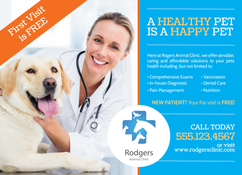 Veterinary Service EDDM Postcard Template Preview 2
