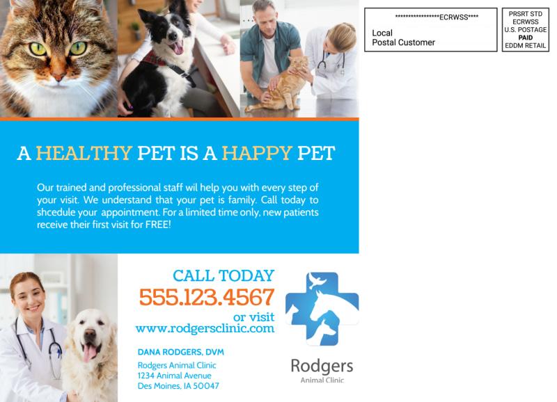 Veterinary Service EDDM Postcard Template Preview 3