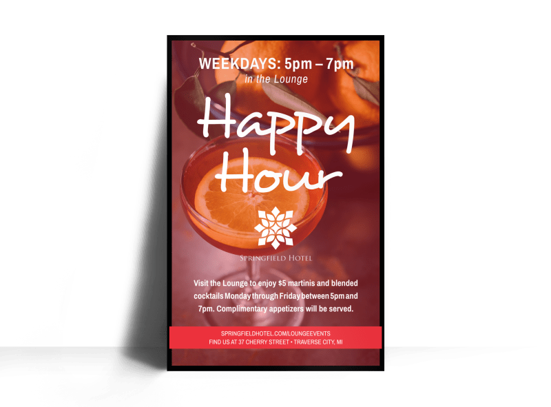 Hotel Happy Hour Poster Template Preview 1