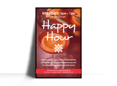 Hotel Happy Hour Poster Template preview