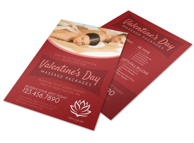 Valentine's Day Massage Packages Flyer Template preview