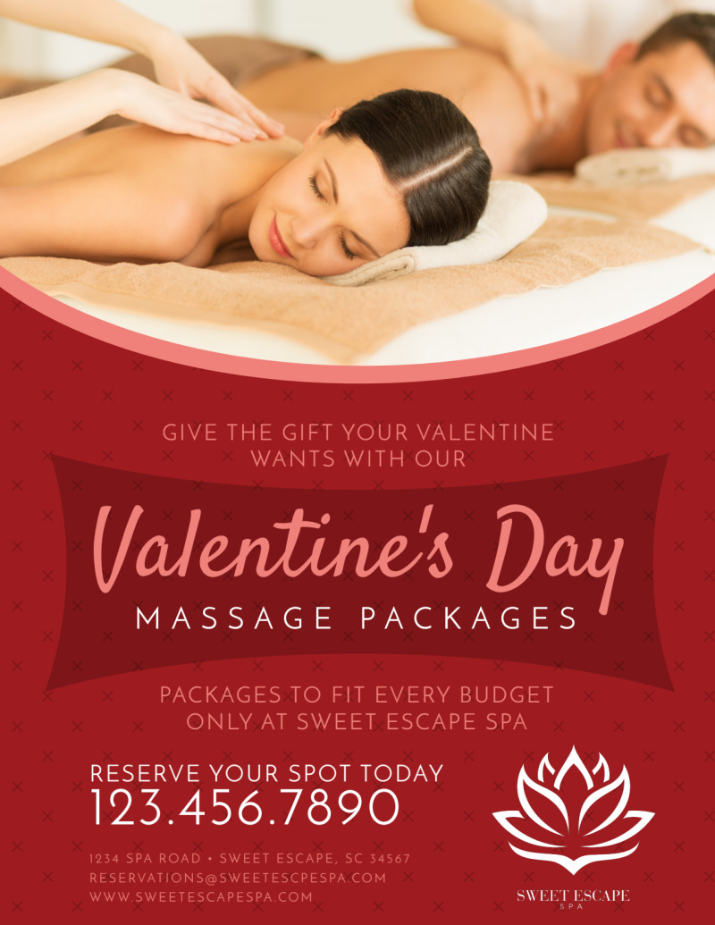 Valentine's Day Massage Packages Flyer Template Preview 2