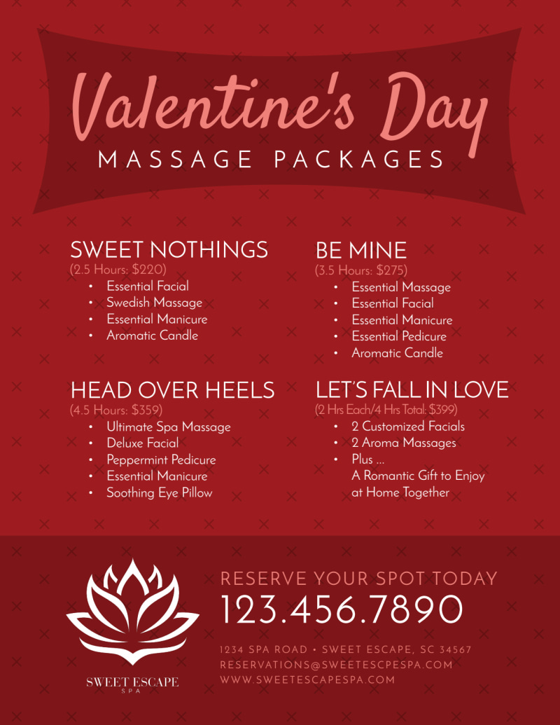 Valentine's Day Massage Packages Flyer Template Preview 3
