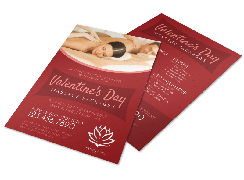 Valentine's Day Massage Packages Flyer Template Preview 1