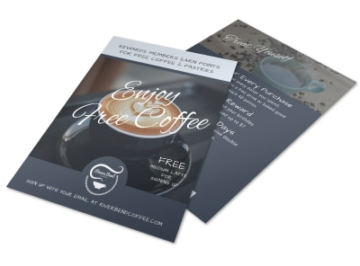Free Coffee Rewards Program Flyer Template preview