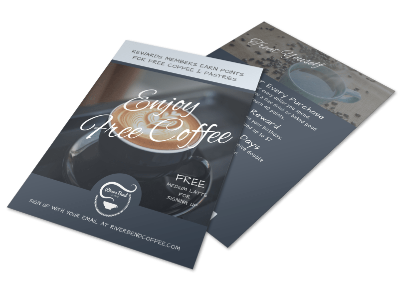 Free Coffee Rewards Program Flyer Template Preview 1