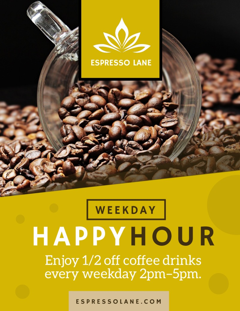 Coffee Happy Hour Flyer Template Preview 2