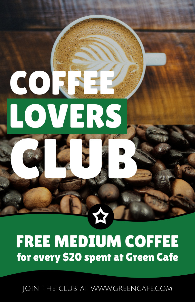 Coffee Lovers Rewards Program Poster Template Preview 2