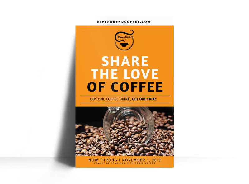 Share The Love Of Coffee BOGO Poster Template