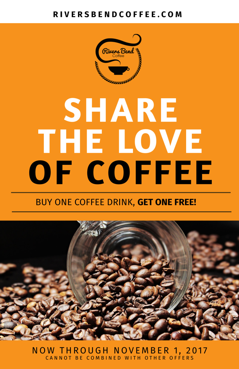 Share The Love Of Coffee BOGO Poster Template Preview 2