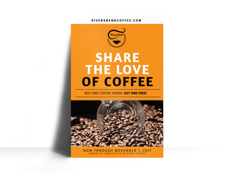 Share The Love Of Coffee BOGO Poster Template Preview 1