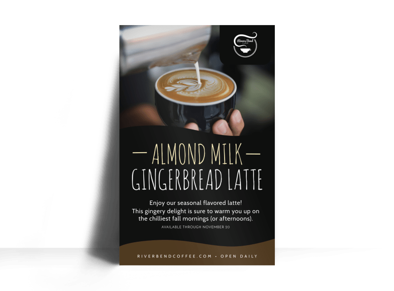 Gingerbread Latte Featured Drink Poster Template Preview 1