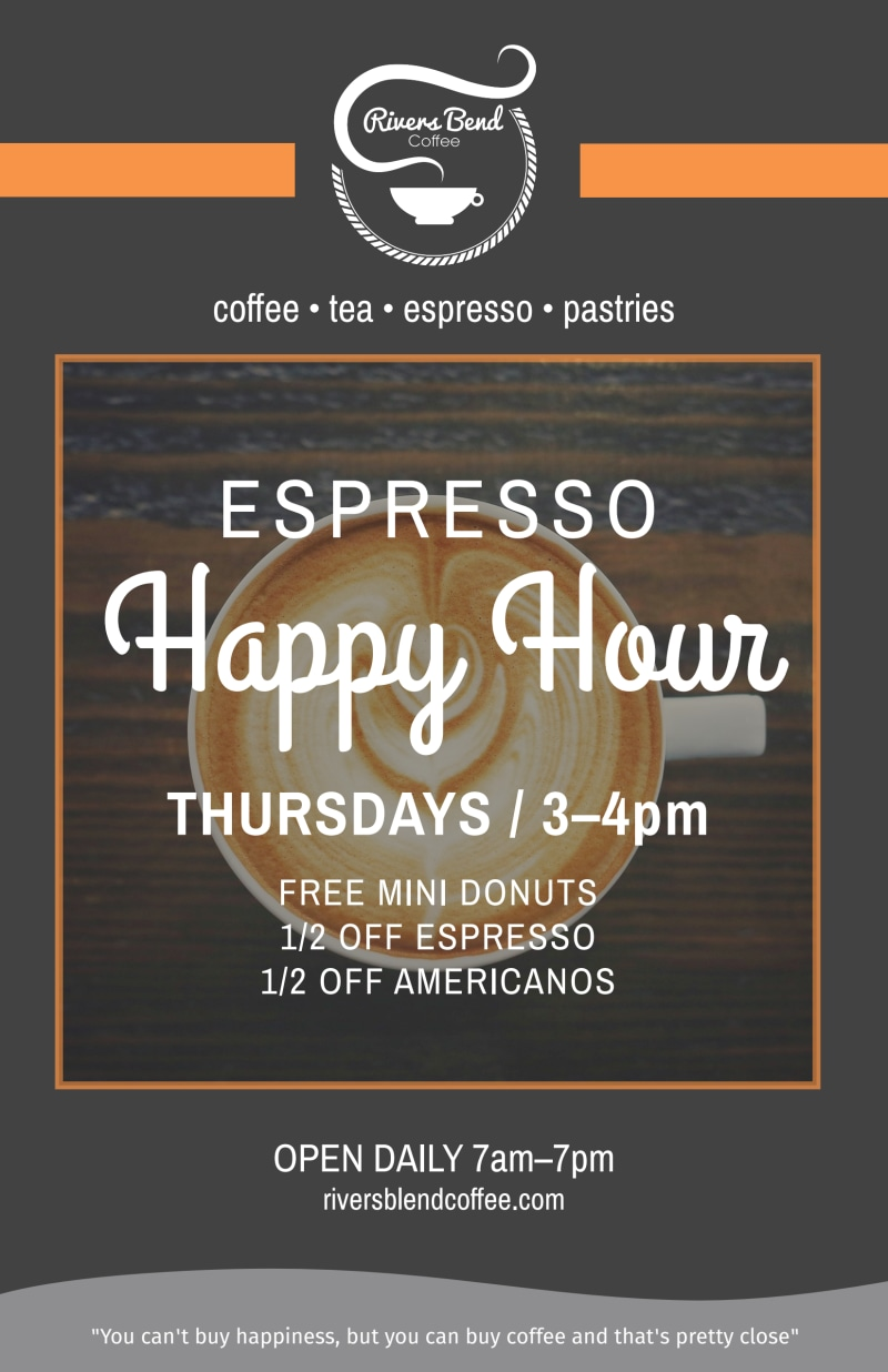 Coffee Espresso Happy Hour Poster Template Preview 2