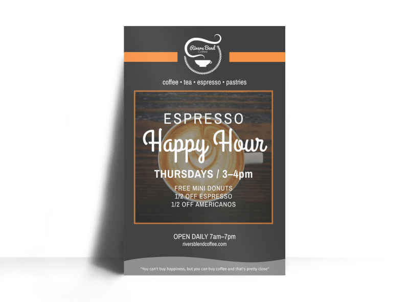 Coffee Espresso Happy Hour Poster Template Preview 1
