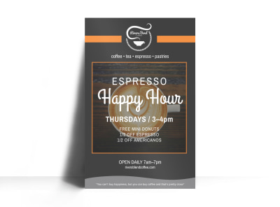Coffee Espresso Happy Hour Poster Template