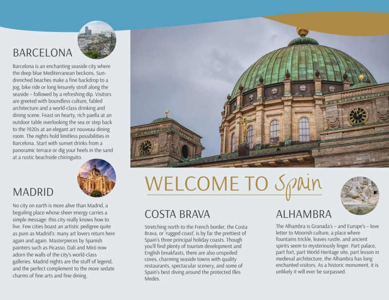 Spain Travel Tri-Fold Brochure Template Preview 3