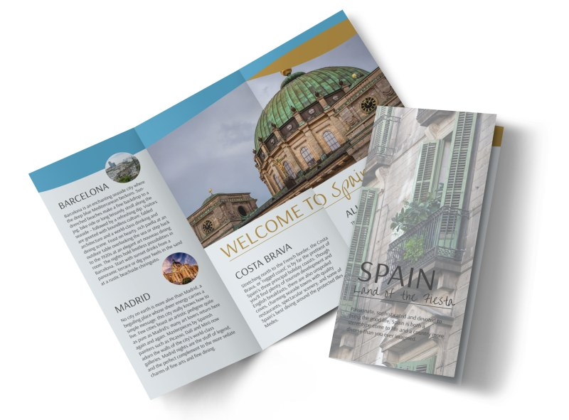 Spain Travel Tri Fold Brochure Template Mycreativeshop