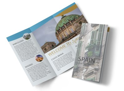 Spain Travel Tri-Fold Brochure Template preview