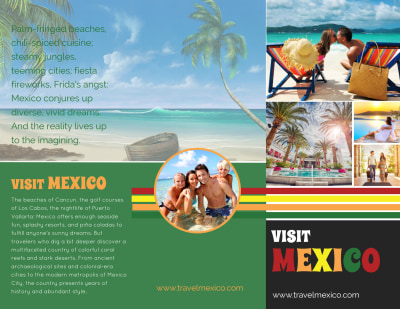 Mexico Travel Tri-Fold Brochure Template Preview 1