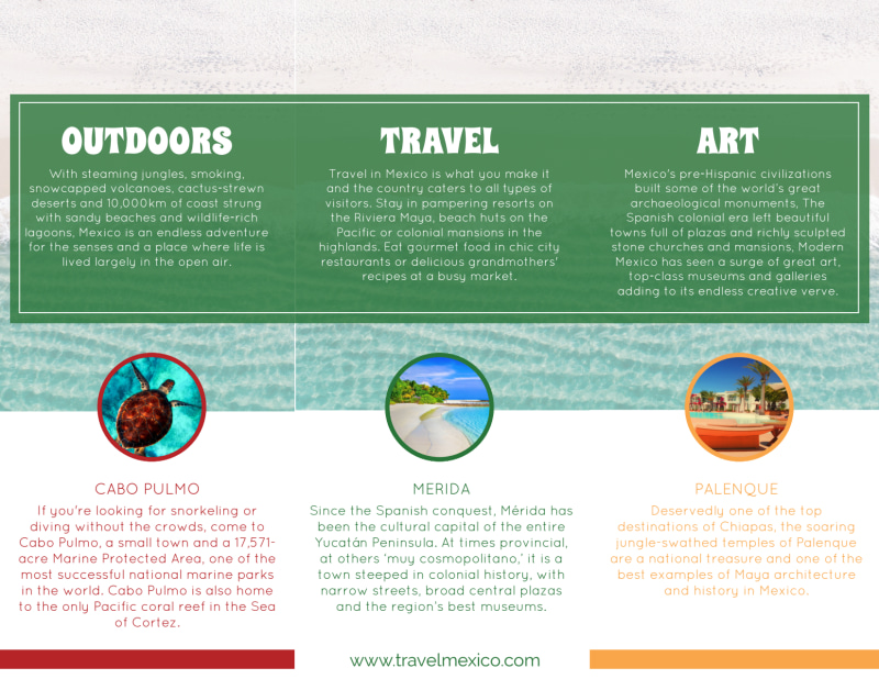 Mexico Travel Tri-Fold Brochure Template Preview 3