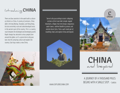 China Travel Tri-Fold Brochure Template Preview 1
