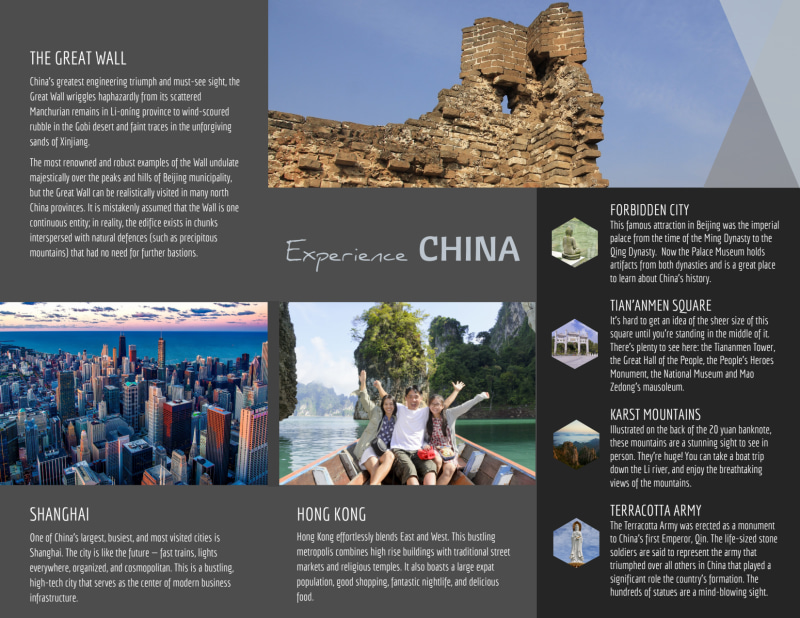 China Travel Tri-Fold Brochure Template Preview 3