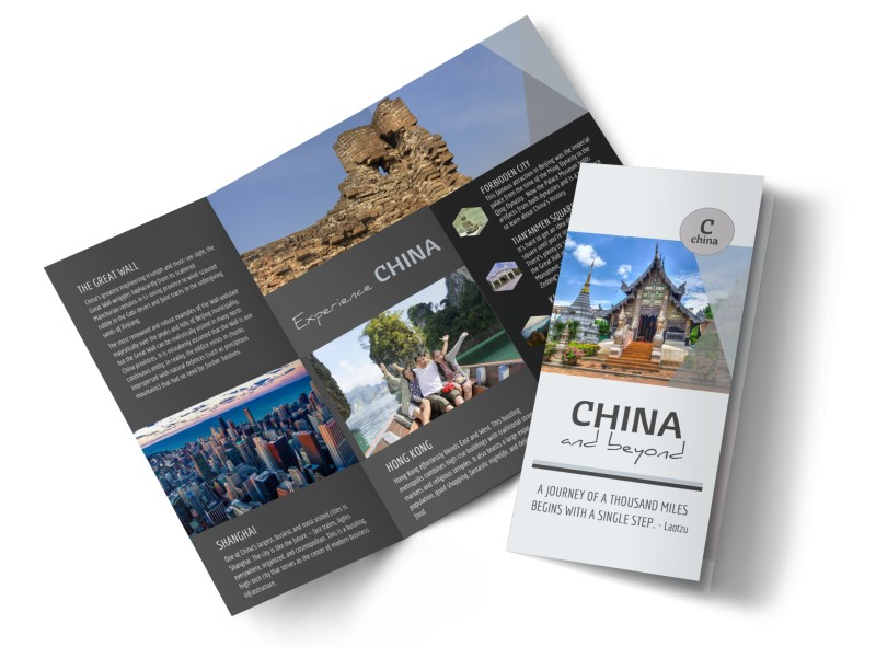 china travel tri fold brochure template