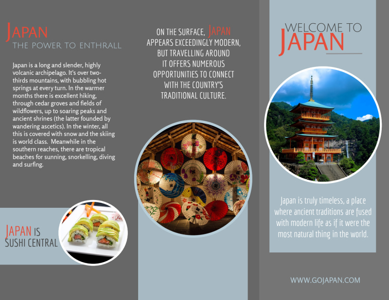 Japan Travel Tri-Fold Brochure Template Preview 2