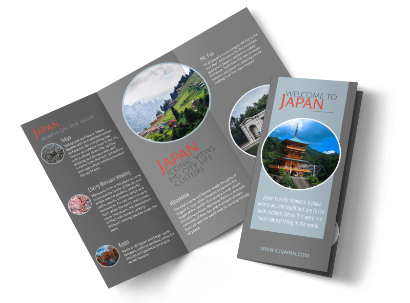 Japan Travel Tri-Fold Brochure Template Preview 1