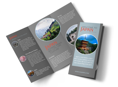 Japan Travel Tri-Fold Brochure Template preview
