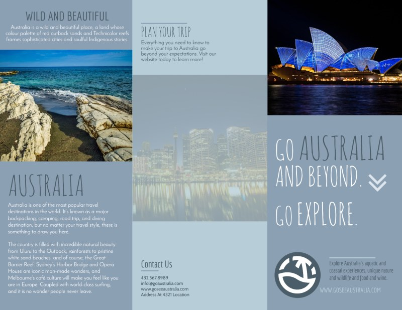 Travel Australia Tri-Fold Brochure Template Preview 2