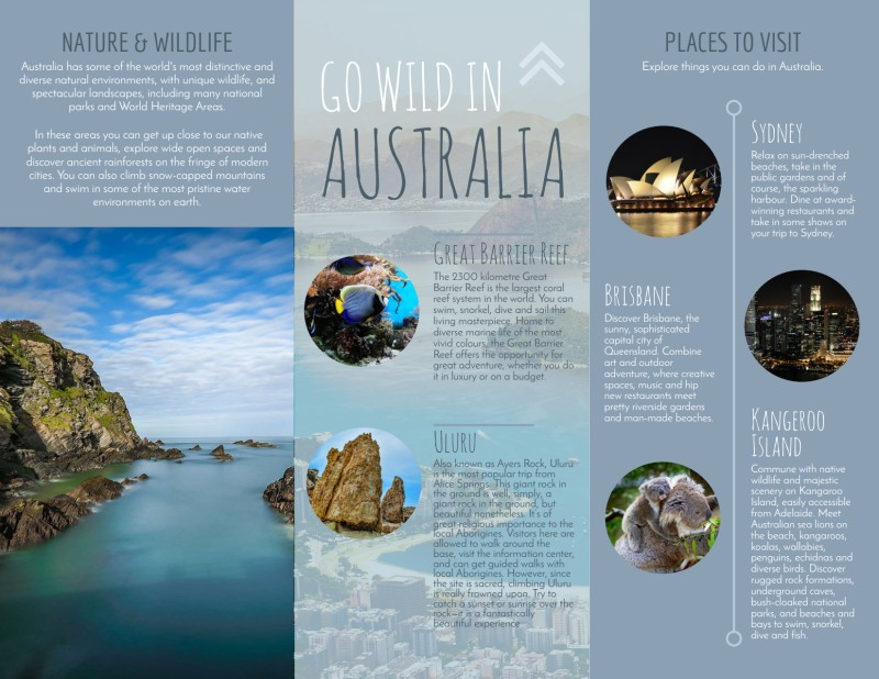 Travel Australia Tri-Fold Brochure Template Preview 3