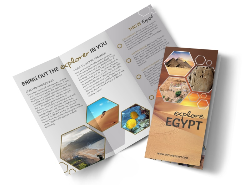 travel egypt tri fold brochure template